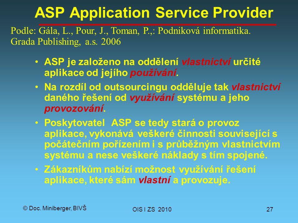 © Doc. Miniberger, BIVŠ ASP Application Service Provider ASP je založeno na oddělení vlastnictví určité aplikace od jejího používání. Na rozdíl od out