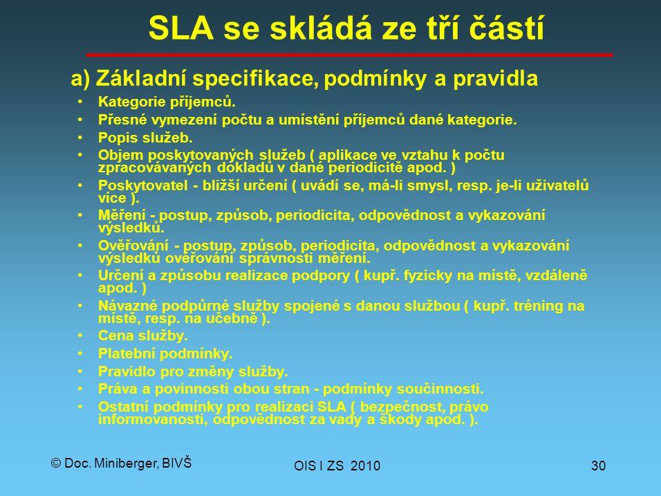 © Doc.Miniberger, BIVŠ SLA se skládá ze tří částí Kategorie příjemců.