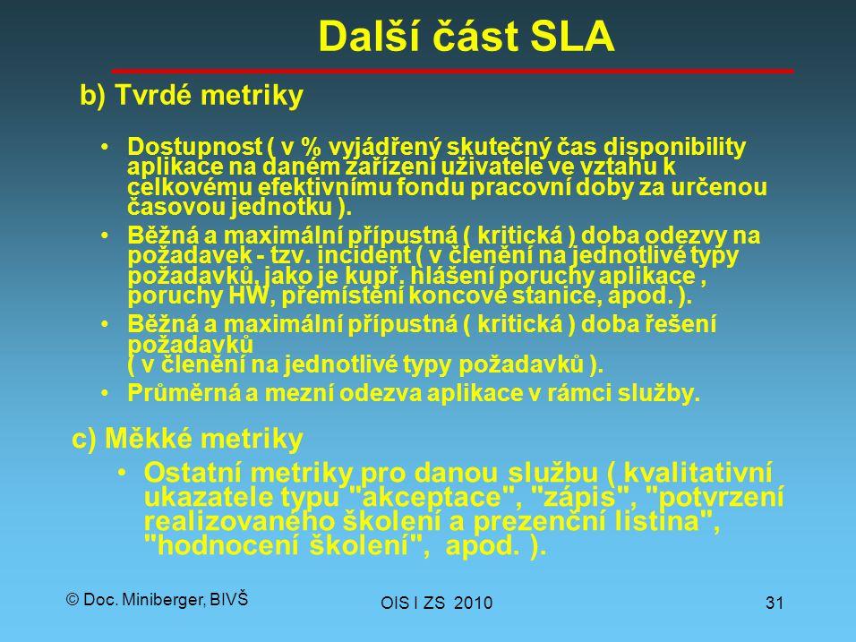 © Doc. Miniberger, BIVŠ Další část SLA Dostupnost ( v % vyjádřený skutečný čas disponibility aplikace na daném zařízení uživatele ve vztahu k celkovém