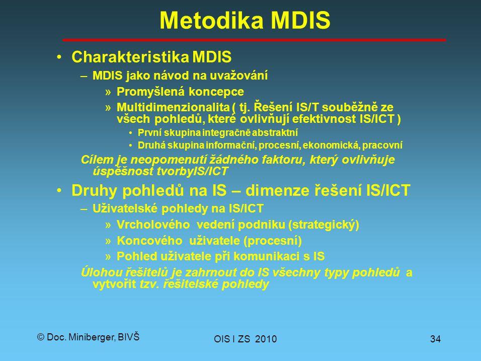 © Doc. Miniberger, BIVŠ Metodika MDIS Charakteristika MDIS –MDIS jako návod na uvažování »Promyšlená koncepce »Multidimenzionalita ( tj. Řešení IS/T s