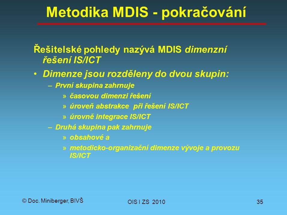 © Doc. Miniberger, BIVŠ Metodika MDIS - pokračování Řešitelské pohledy nazývá MDIS dimenzní řešení IS/ICT Dimenze jsou rozděleny do dvou skupin: –Prvn