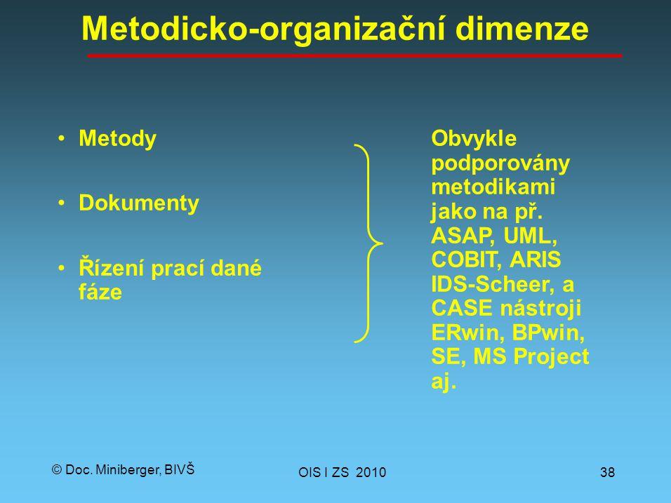 © Doc. Miniberger, BIVŠ Metodicko-organizační dimenze Metody Dokumenty Řízení prací dané fáze OIS I ZS 201038 Obvykle podporovány metodikami jako na p
