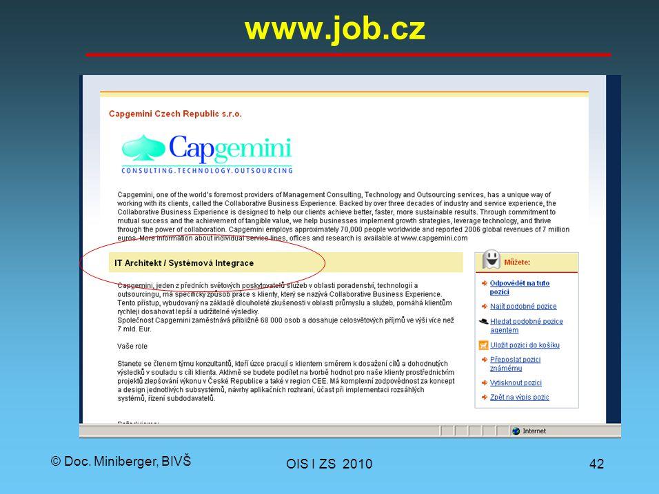 © Doc. Miniberger, BIVŠ www.job.cz OIS I ZS 201042