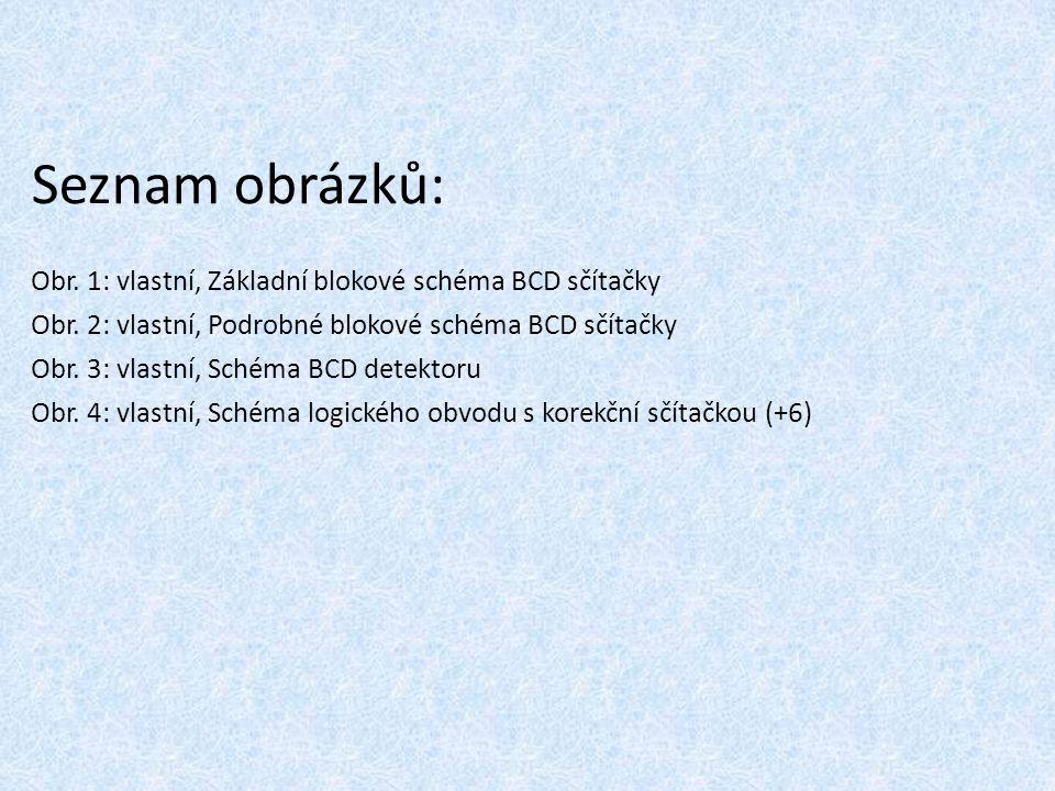 Seznam obrázků: Obr. 1: vlastní, Základní blokové schéma BCD sčítačky Obr. 2: vlastní, Podrobné blokové schéma BCD sčítačky Obr. 3: vlastní, Schéma BC