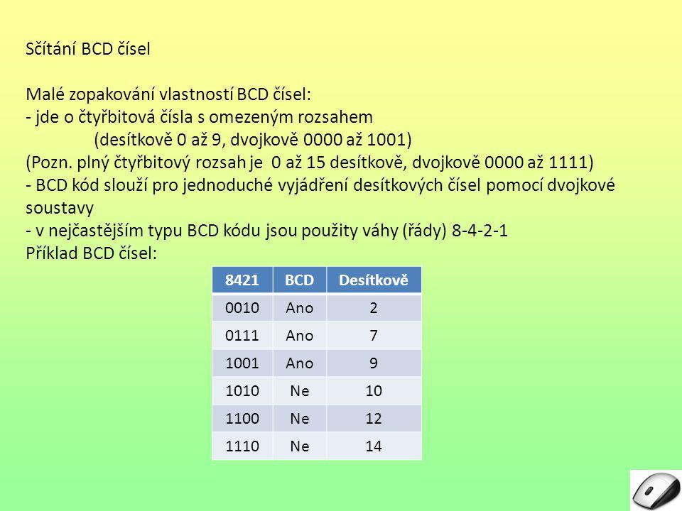 Sčítání BCD čísel Malé zopakování vlastností BCD čísel: - jde o čtyřbitová čísla s omezeným rozsahem (desítkově 0 až 9, dvojkově 0000 až 1001) (Pozn.