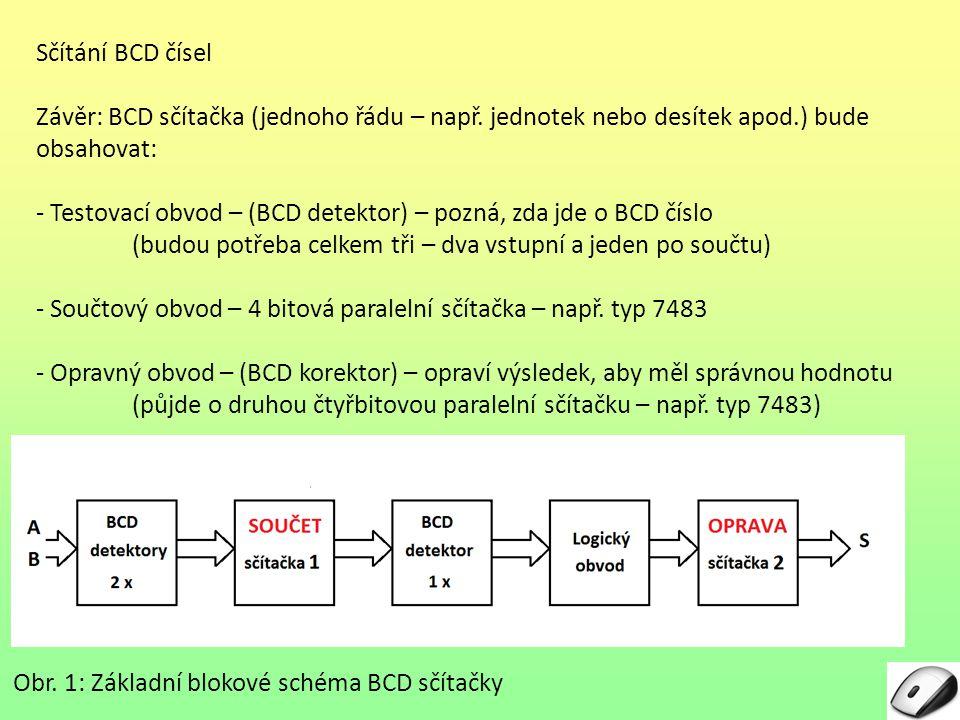 Sčítání BCD čísel Závěr: BCD sčítačka (jednoho řádu – např. jednotek nebo desítek apod.) bude obsahovat: - Testovací obvod – (BCD detektor) – pozná, z