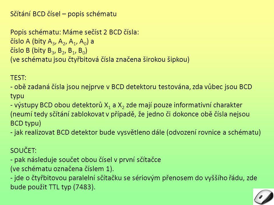 Sčítání BCD čísel – popis schématu SOUČET: Výstupy z této sčítačky jsou následující: – součet S1 S1 je testován zda je BCD typu (tedy zda čtyřbitové číslo desítkově není v rozsahu 10 až 15) – výstup BCD detektoru X3 X3 slouží v kombinaci s 5.
