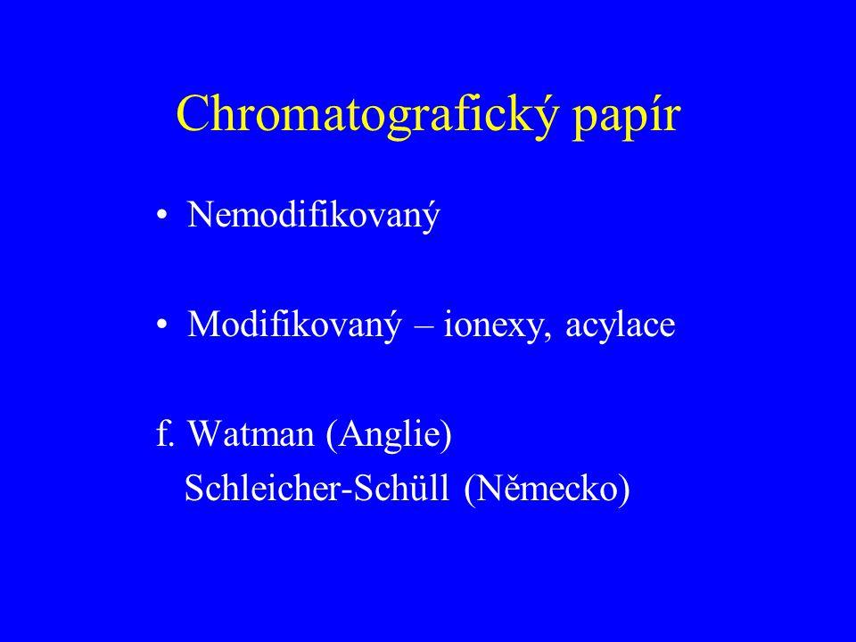 Chromatografický papír Nemodifikovaný Modifikovaný – ionexy, acylace f. Watman (Anglie) Schleicher-Schüll (Německo)