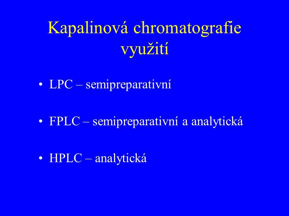 Kapalinová chromatografie využití LPC – semipreparativní FPLC – semipreparativní a analytická HPLC – analytická