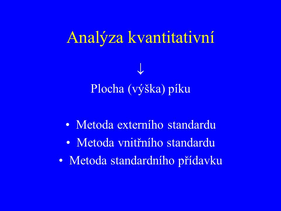 Analýza kvantitativní  Plocha (výška) píku Metoda externího standardu Metoda vnitřního standardu Metoda standardního přídavku