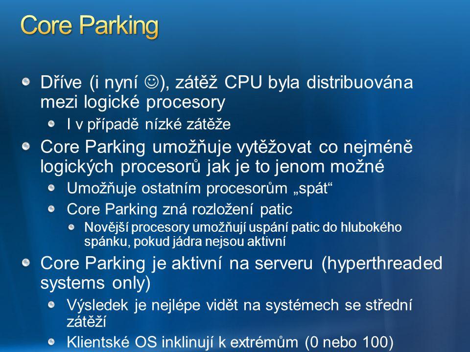 Dříve (i nyní ), zátěž CPU byla distribuována mezi logické procesory I v případě nízké zátěže Core Parking umožňuje vytěžovat co nejméně logických pro
