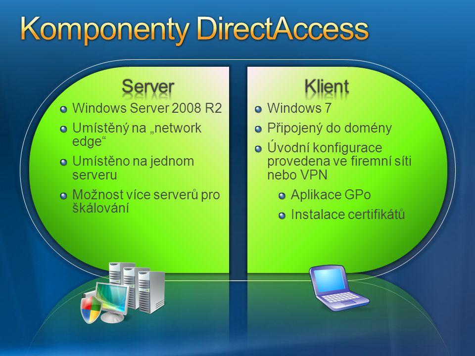 Windows 7 Připojený do domény Úvodní konfigurace provedena ve firemní síti nebo VPN Aplikace GPo Instalace certifikátů Windows Server 2008 R2 Umístěný