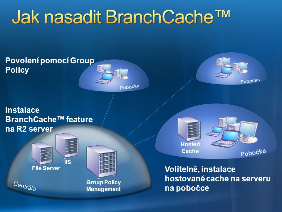Volitelně, instalace hostované cache na serveru na pobočce Povolení pomocí Group Policy Hosted Cache IIS File Server Group Policy Management Instalace