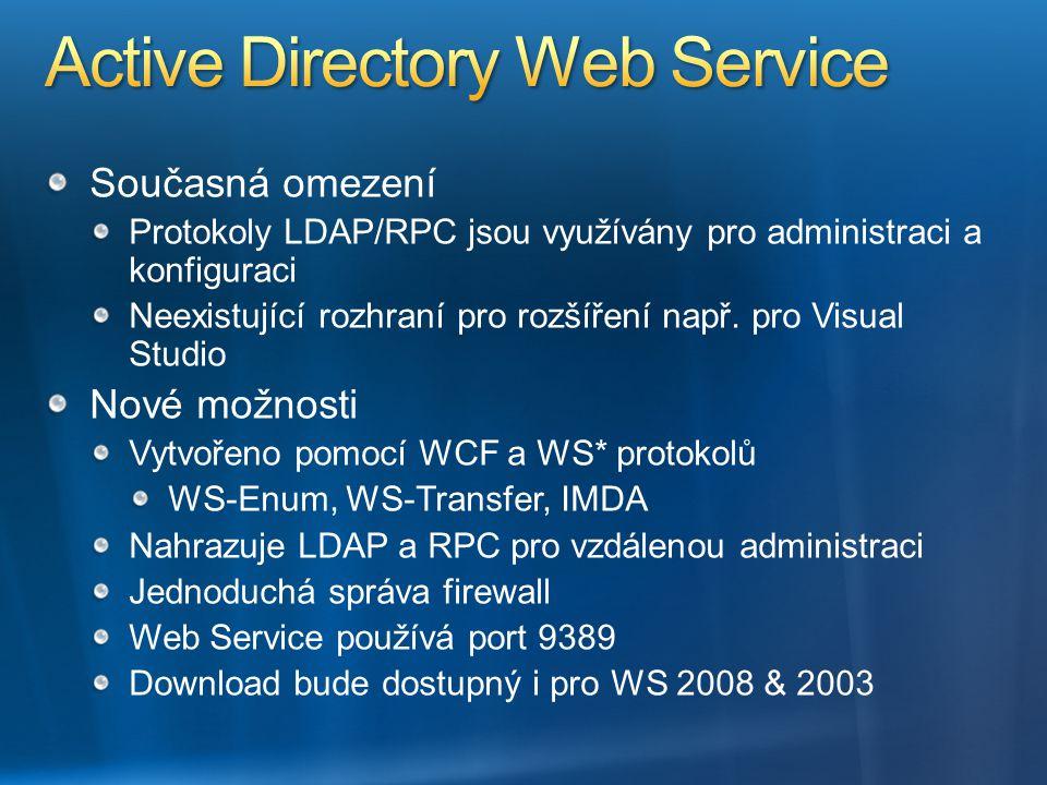 Současná omezení Protokoly LDAP/RPC jsou využívány pro administraci a konfiguraci Neexistující rozhraní pro rozšíření např. pro Visual Studio Nové mož