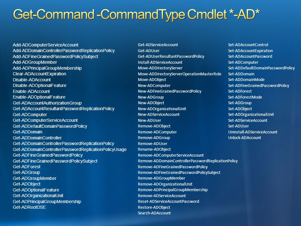 Add-ADComputerServiceAccount Add-ADDomainControllerPasswordReplicationPolicy Add-ADFineGrainedPasswordPolicySubject Add-ADGroupMember Add-ADPrincipalGroupMembership Clear-ADAccountExpiration Disable-ADAccount Disable-ADOptionalFeature Enable-ADAccount Enable-ADOptionalFeature Get-ADAccountAuthorizationGroup Get-ADAccountResultantPasswordReplicationPolicy Get-ADComputer Get-ADComputerServiceAccount Get-ADDefaultDomainPasswordPolicy Get-ADDomain Get-ADDomainController Get-ADDomainControllerPasswordReplicationPolicy Get-ADDomainControllerPasswordReplicationPolicyUsage Get-ADFineGrainedPasswordPolicy Get-ADFineGrainedPasswordPolicySubject Get-ADForest Get-ADGroup Get-ADGroupMember Get-ADObject Get-ADOptionalFeature Get-ADOrganizationalUnit Get-ADPrincipalGroupMembership Get-ADRootDSE Get-ADServiceAccount Get-ADUser Get-ADUserResultantPasswordPolicy Install-ADServiceAccount Move-ADDirectoryServer Move-ADDirectoryServerOperationMasterRole Move-ADObject New-ADComputer New-ADFineGrainedPasswordPolicy New-ADGroup New-ADObject New-ADOrganizationalUnit New-ADServiceAccount New-ADUser Remove-ADObject Remove-ADComputer Remove-ADGroup Remove-ADUser Rename-ADObject Remove-ADComputerServiceAccount Remove-ADDomainControllerPasswordReplicationPolicy Remove-ADFineGrainedPasswordPolicy Remove-ADFineGrainedPasswordPolicySubject Remove-ADGroupMember Remove-ADOrganizationalUnit Remove-ADPrincipalGroupMembership Remove-ADServiceAccount Reset-ADServiceAccountPassword Restore-ADObject Search-ADAccount Set-ADAccountControl Set-ADAccountExpiration Set-ADAccountPassword Set-ADComputer Set-ADDefaultDomainPasswordPolicy Set-ADDomain Set-ADDomainMode Set-ADFineGrainedPasswordPolicy Set-ADForest Set-ADForestMode Set-ADGroup Set-ADObject Set-ADOrganizationalUnit Set-ADServiceAccount Set-ADUser Uninstall-ADServiceAccount Unlock-ADAccount