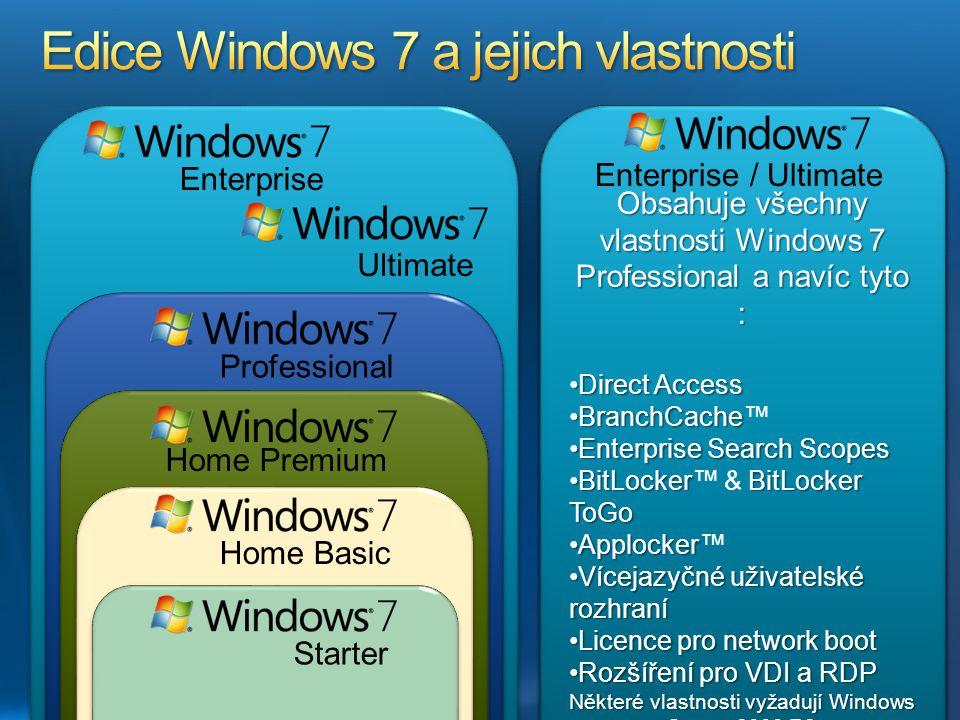Enterprise Ultimate Professional Home Premium Home Basic Starter Windows 7 Home Premium Aero Glass a rozšířená navigaceAero Glass a rozšířená navigace