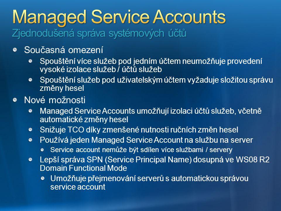 Současná omezení Spouštění více služeb pod jedním účtem neumožňuje provedení vysoké izolace služeb / účtů služeb Spouštění služeb pod uživatelským účt
