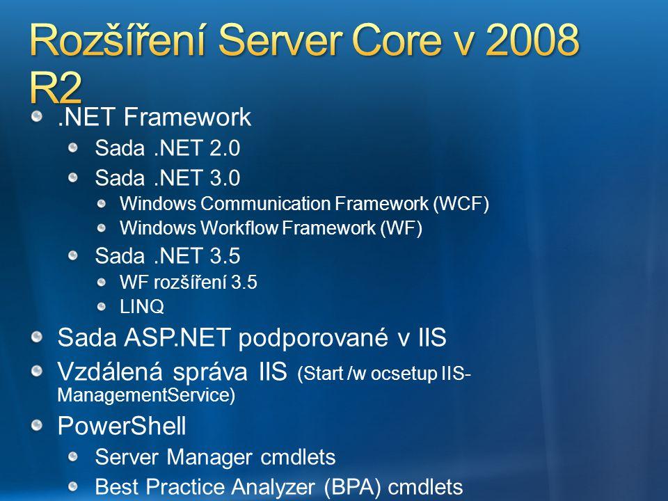 .NET Framework Sada.NET 2.0 Sada.NET 3.0 Windows Communication Framework (WCF) Windows Workflow Framework (WF) Sada.NET 3.5 WF rozšíření 3.5 LINQ Sada