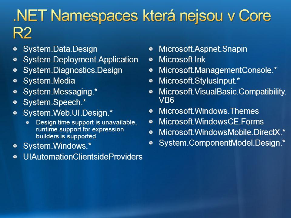 System.Data.Design System.Deployment.Application System.Diagnostics.Design System.Media System.Messaging.* System.Speech.* System.Web.UI.Design.* Desi