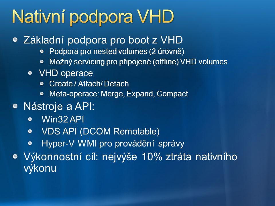 Základní podpora pro boot z VHD Podpora pro nested volumes (2 úrovně) Možný servicing pro připojené (offline) VHD volumes VHD operace Create / Attach/