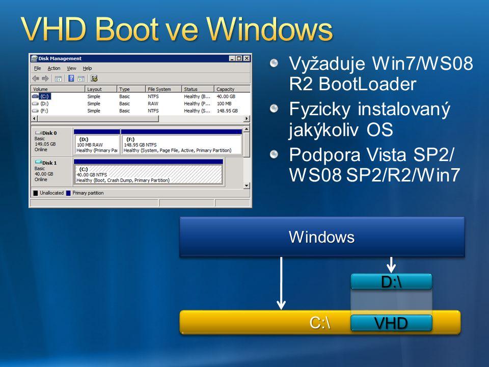 D:\D:\ VHDVHD Vyžaduje Win7/WS08 R2 BootLoader Fyzicky instalovaný jakýkoliv OS Podpora Vista SP2/ WS08 SP2/R2/Win7