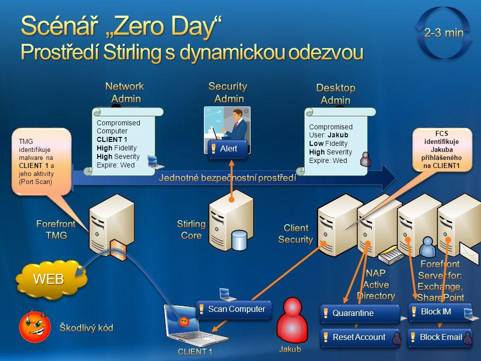 TMG identifikuje malware na CLIENT 1 a jeho aktivity (Port Scan) TMG identifikuje malware na CLIENT 1 a jeho aktivity (Port Scan) WEBWEB Compromised C
