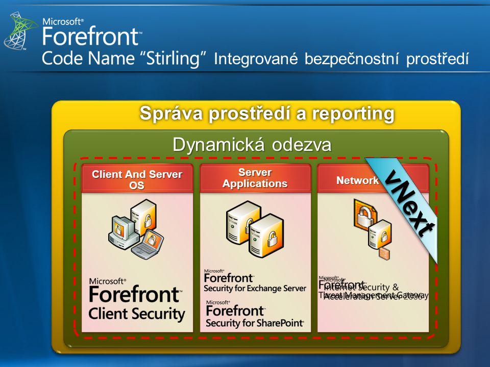 Dynamická odezva Network Edge Server Applications Client And Server OS vNext Integrované bezpečnostní prostředí