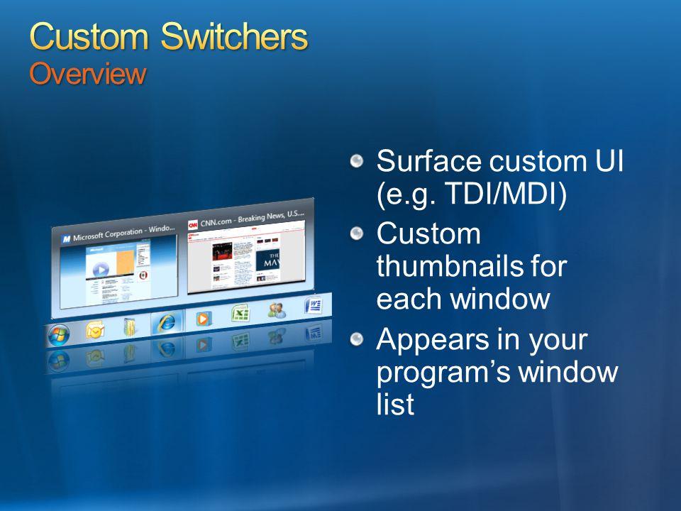 Surface custom UI (e.g. TDI/MDI) Custom thumbnails for each window Appears in your program's window list