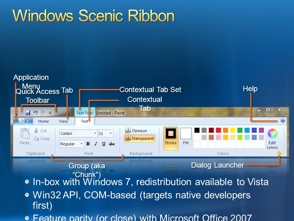 In-box with Windows 7, redistribution available to Vista Win32 API, COM-based (targets native developers first) Feature parity (or close) with Microso
