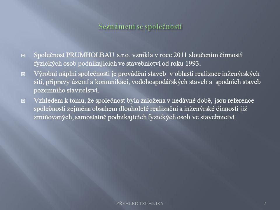  Společnost PRUMHOLBAU s.r.o. vznikla v roce 2011 sloučením činností fyzických osob podnikajících ve stavebnictví od roku 1993.  Výrobní náplní spol