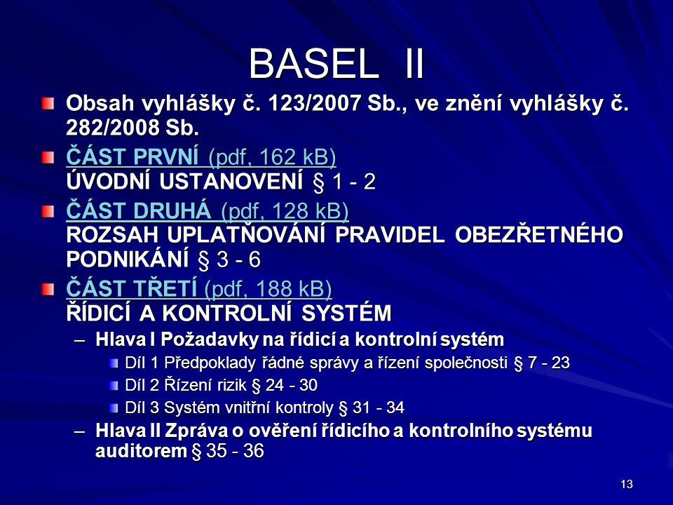 13 BASEL II Obsah vyhlášky č. 123/2007 Sb., ve znění vyhlášky č. 282/2008 Sb. ČÁST PRVNÍ (pdf, 162 kB) ČÁST PRVNÍ (pdf, 162 kB) ÚVODNÍ USTANOVENÍ § 1