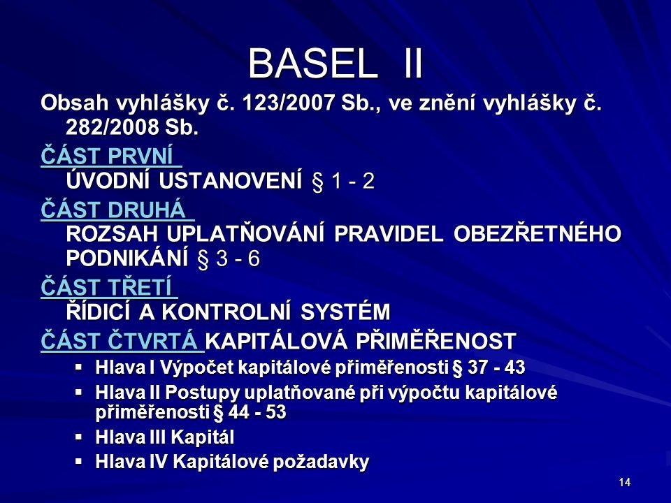 14 BASEL II Obsah vyhlášky č. 123/2007 Sb., ve znění vyhlášky č. 282/2008 Sb. ČÁST PRVNÍ ČÁST PRVNÍ ÚVODNÍ USTANOVENÍ § 1 - 2 ČÁST PRVNÍ ČÁST DRUHÁ ČÁ