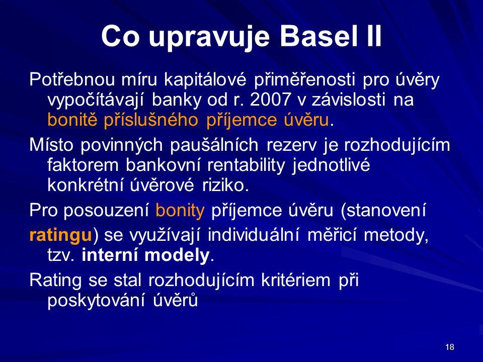 18 Co upravuje Basel II Potřebnou míru kapitálové přiměřenosti pro úvěry vypočítávají banky od r. 2007 v závislosti na bonitě příslušného příjemce úvě