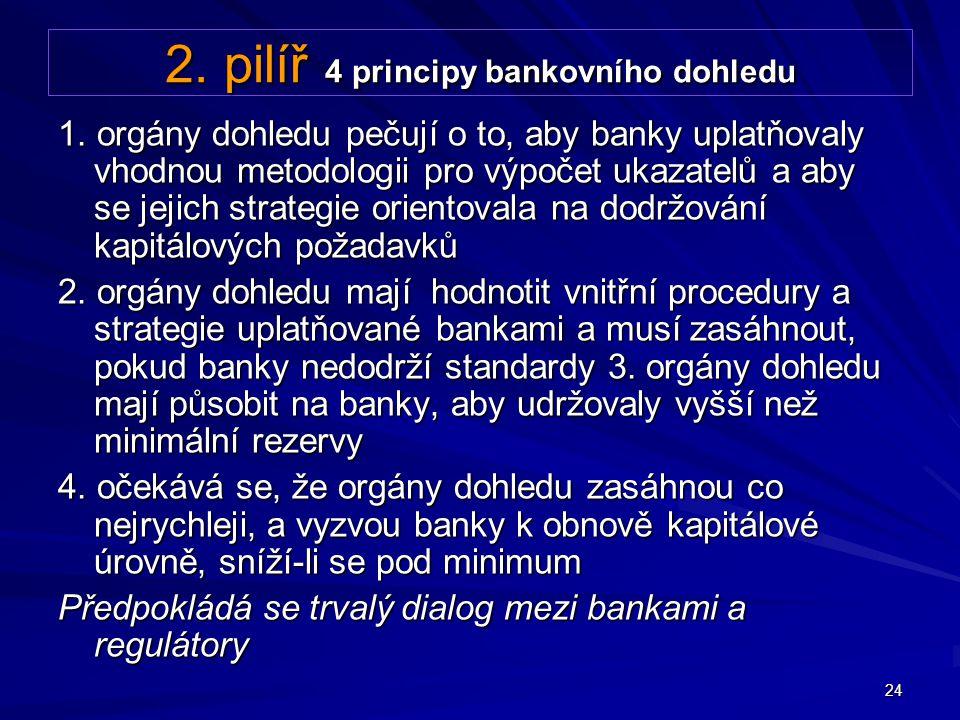 24 2. pilíř 4 principy bankovního dohledu 1. orgány dohledu pečují o to, aby banky uplatňovaly vhodnou metodologii pro výpočet ukazatelů a aby se jeji