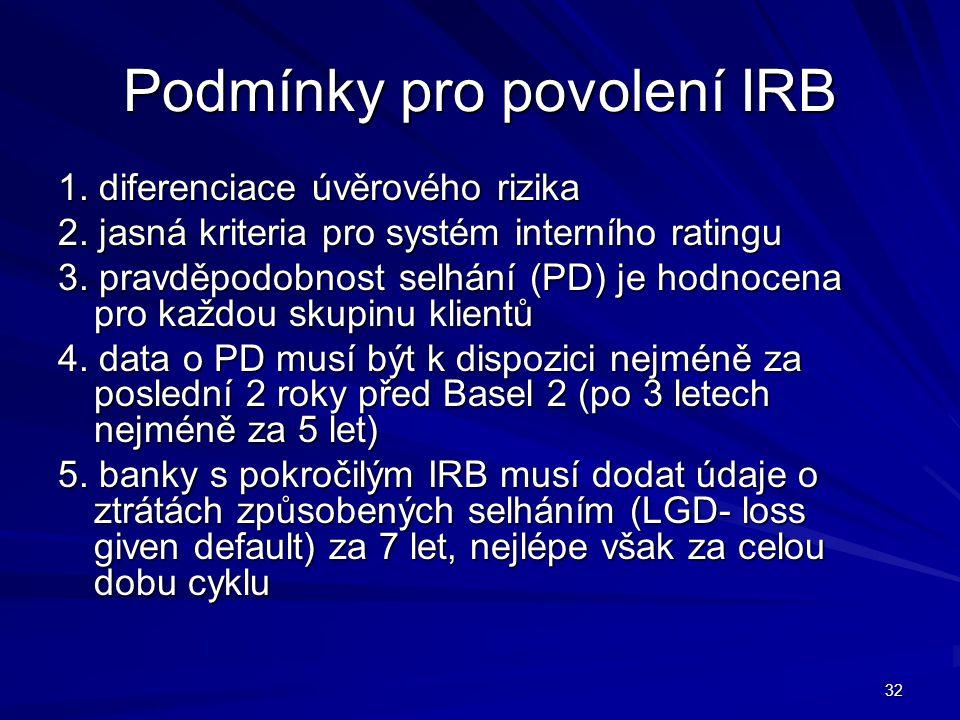 32 Podmínky pro povolení IRB 1. diferenciace úvěrového rizika 2. jasná kriteria pro systém interního ratingu 3. pravděpodobnost selhání (PD) je hodnoc