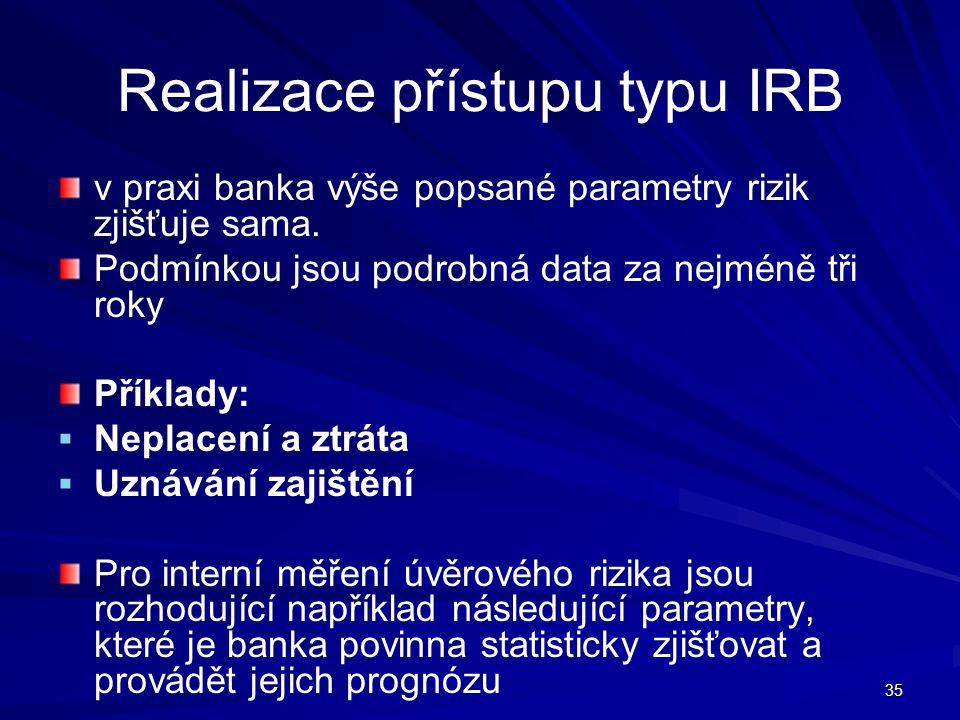 35 Realizace přístupu typu IRB v praxi banka výše popsané parametry rizik zjišťuje sama. Podmínkou jsou podrobná data za nejméně tři roky Příklady: 