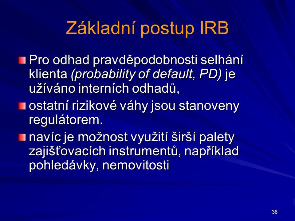 36 Základní postup IRB Pro odhad pravděpodobnosti selhání klienta (probability of default, PD) je užíváno interních odhadů, ostatní rizikové váhy jsou