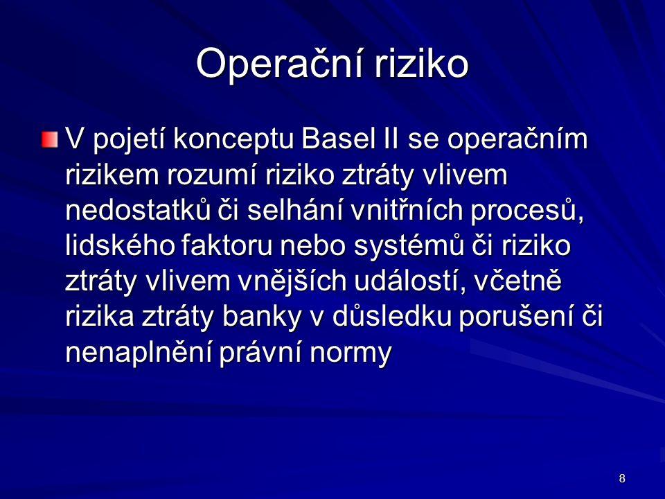 8 Operační riziko V pojetí konceptu Basel II se operačním rizikem rozumí riziko ztráty vlivem nedostatků či selhání vnitřních procesů, lidského faktor