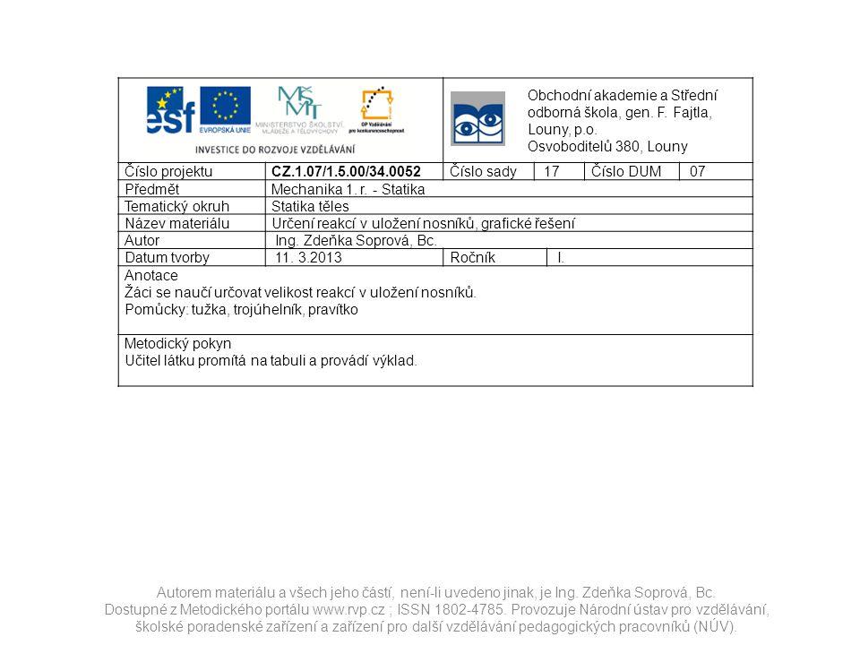 Autorem materiálu a všech jeho částí, není-li uvedeno jinak, je Ing. Zdeňka Soprová, Bc. Dostupné z Metodického portálu www.rvp.cz ; ISSN 1802-4785. P