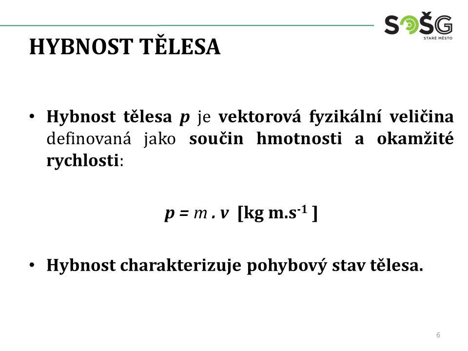 HYBNOST TĚLESA Hybnost tělesa p je vektorová fyzikální veličina definovaná jako součin hmotnosti a okamžité rychlosti: p = m. v [kg m.s -1 ] Hybnost c