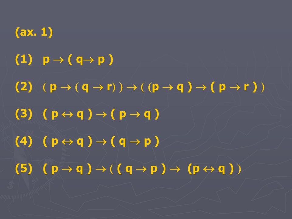 (ax. 1) (1) p  ( q  p ) (2)  p   q  r      p  q )  ( p  r )  (3) ( p  q )  ( p  q ) (4) ( p  q )  ( q  p ) (5) ( p  q )   ( q