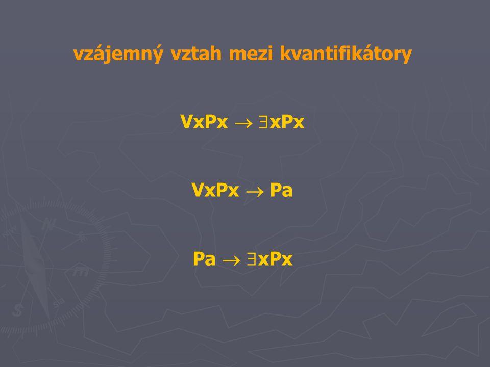 vzájemný vztah mezi kvantifikátory VxPx   xPx VxPx  Pa Pa   xPx