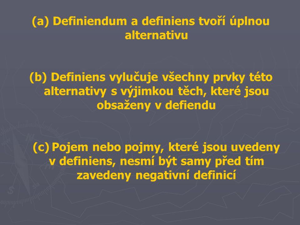 (a) Definiendum a definiens tvoří úplnou alternativu (b) Definiens vylučuje všechny prvky této alternativy s výjimkou těch, které jsou obsaženy v defiendu (c)Pojem nebo pojmy, které jsou uvedeny v definiens, nesmí být samy před tím zavedeny negativní definicí
