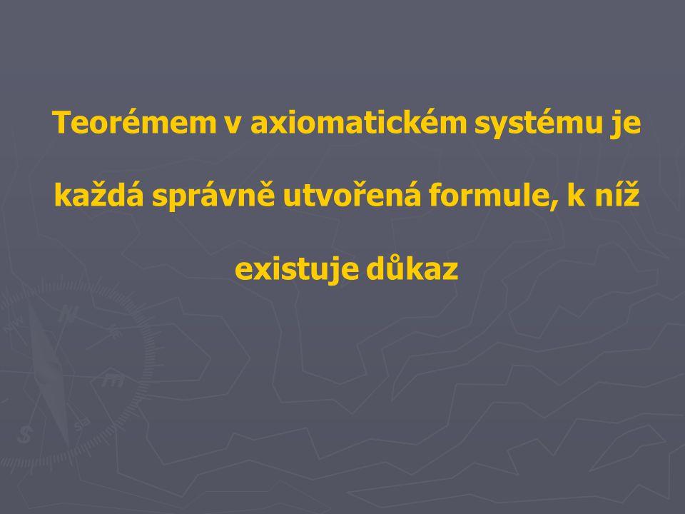 Teorémem v axiomatickém systému je každá správně utvořená formule, k níž existuje důkaz
