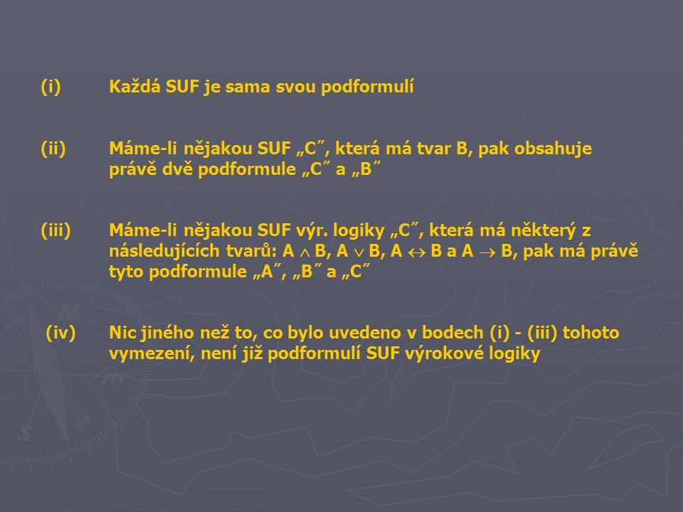 """(i)Každá SUF je sama svou podformulí (ii)Máme-li nějakou SUF """"C˝, která má tvar B, pak obsahuje právě dvě podformule """"C˝ a """"B˝ (iii)Máme-li nějakou SUF výr."""