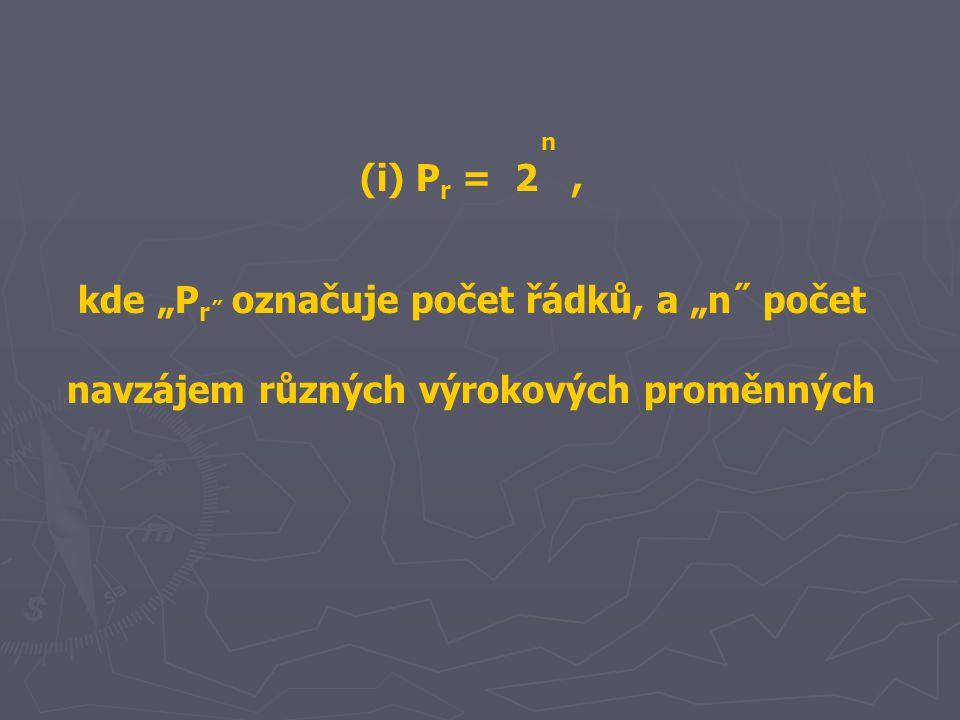 """n (i) P r = 2, kde """"P r˝ označuje počet řádků, a """"n˝ počet navzájem různých výrokových proměnných"""