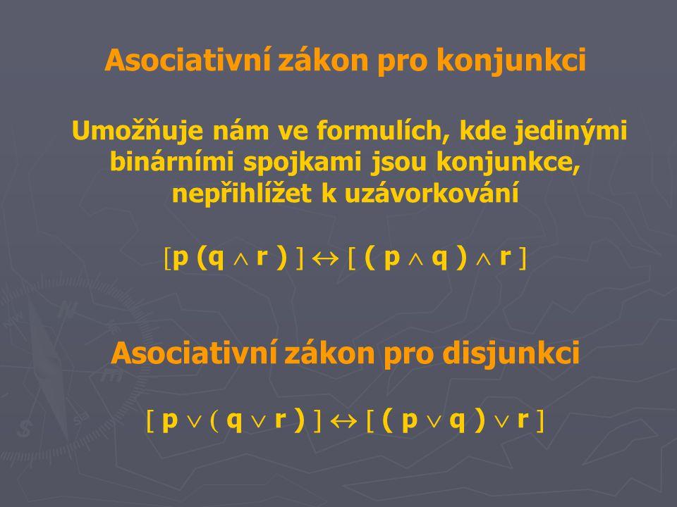 Asociativní zákon pro konjunkci Umožňuje nám ve formulích, kde jedinými binárními spojkami jsou konjunkce, nepřihlížet k uzávorkování  p (q  r )    ( p  q )  r  Asociativní zákon pro disjunkci  p   q  r )    ( p  q )  r 