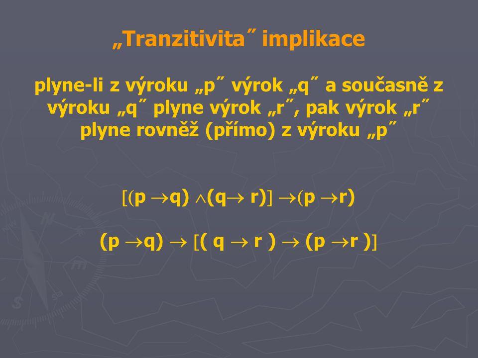 """""""Tranzitivita˝ implikace plyne-li z výroku """"p˝ výrok """"q˝ a současně z výroku """"q˝ plyne výrok """"r˝, pak výrok """"r˝ plyne rovněž (přímo) z výroku """"p˝  p  q)  (q  r)   p  r) (p  q)   ( q  r )  (p  r ) """