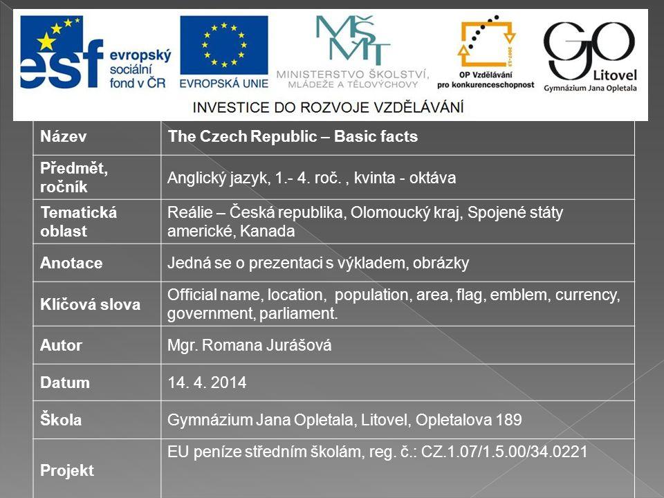 NázevThe Czech Republic – Basic facts Předmět, ročník Anglický jazyk, 1.- 4.