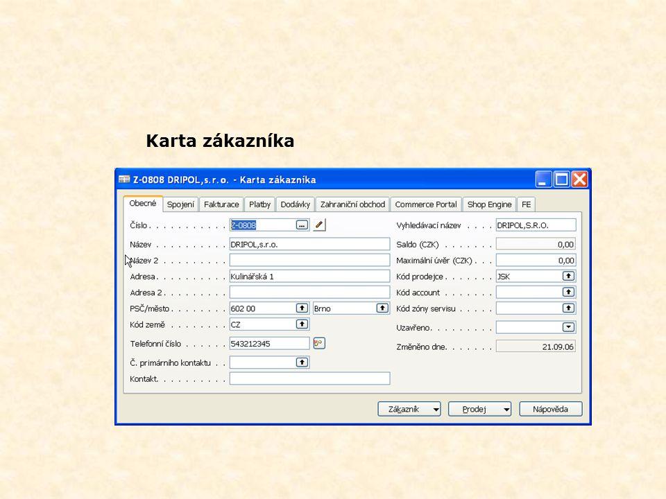 Vytvoření zákazníka z karty kontaktu Karta kontaktu (společnost) Karta zákazníka
